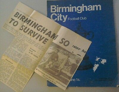 Birmingham City V Lincoln City programme & newspaper report  FA Cup 3rd rnd 1969