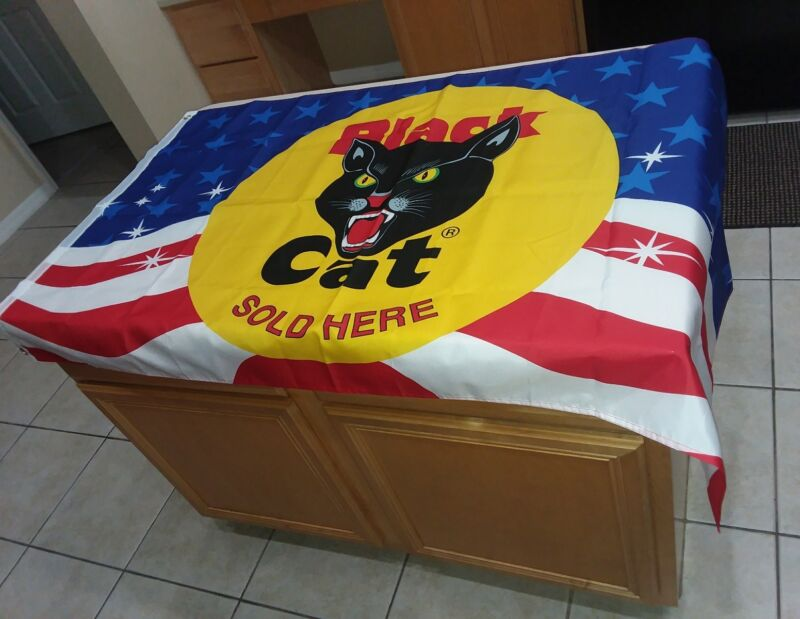 LOT OF 2 Black Cat Fireworks Sold Here Flag 4th of July American flag & NEON