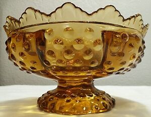 Fenton Hobnail Scalloped Edge Amber Candle/Floral Bowl Signed EXC!