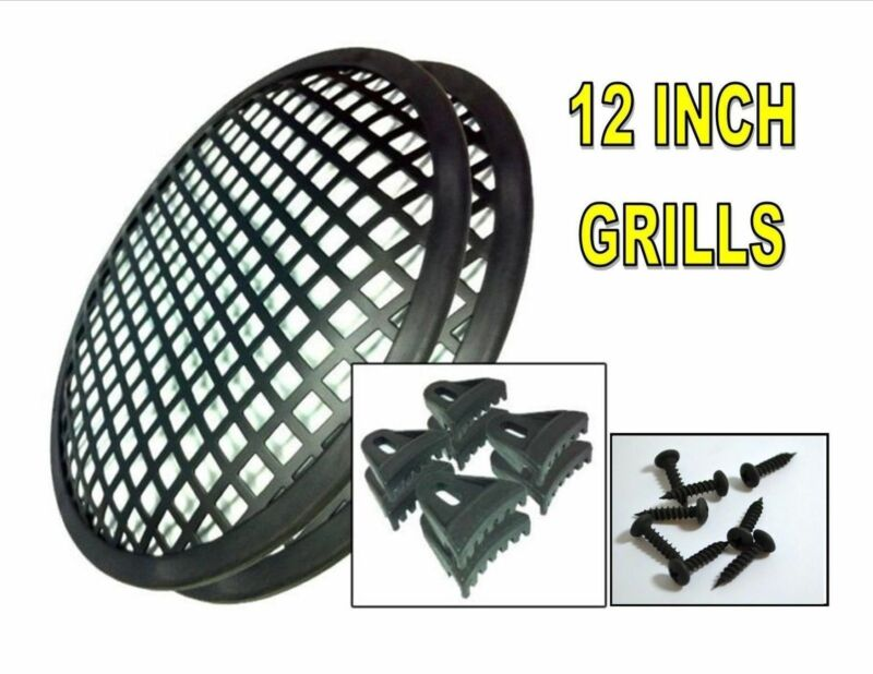 "SPEAKER GRILLS 2 Pieces 12"" INCH GRILL WAFFLE  SUB WOOFER CLIPS AND SCREW"