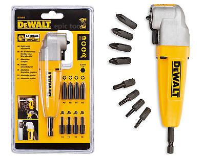 "DEWALT DT71517 1/4"" Impact Right Angle Cordless Drill Chuck + 9 Screwdriver Bits"