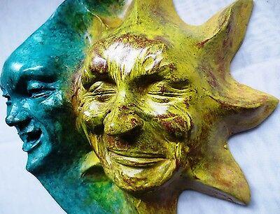 Handmade Sun & Moon Wall Mask Sculpture, Gold Yellow Turquoise, Original Art