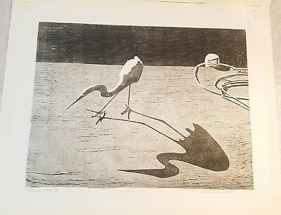 SIGNED PRINT MORNING DANCE B 1997 D. BAILEY A/P  BLACK WHITE BIRD