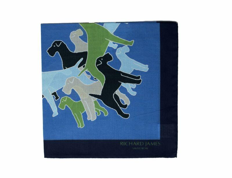 Richard James Savile Row Printed Cotton Pocket Square ~ Made in Italy