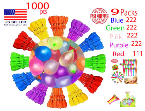 NEW 1000 balloons 9 pack Instant rapid Fill Self-Sealing Water Bunch o Balloons