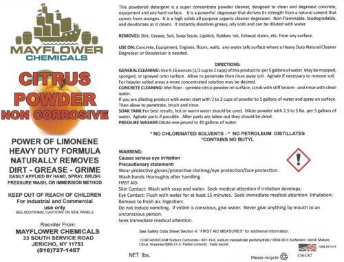 50lbs ORANGE CITRUS POWDERED CRYSTALS CLEANER & DEGREASER D-LIMONENE CONCRETE