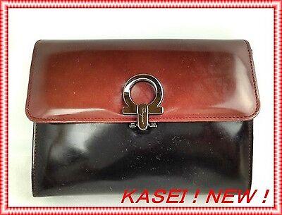 Auth Salvatore Ferragamo makeup bag Cosmetic Bag Black Leather 5l390120s