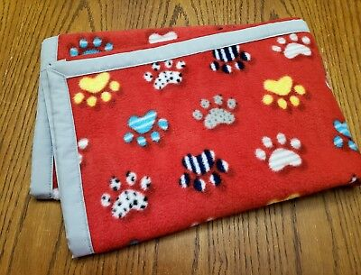 """Handmade, """"DOG PAWS"""" unisex 30x40in red baby/toddler/lap/puppy blanket-gift idea"""