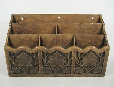 Vtg Lerner Faux Carved Wood Desk Organizer Mail Plastic Caddy Storage Holder