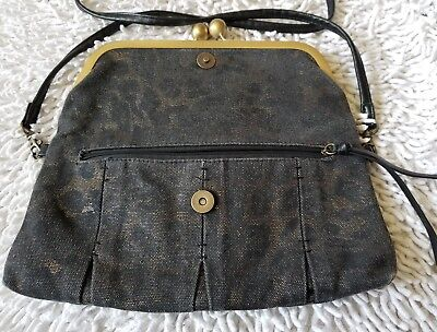 Jessica Simpson Tiffany Black Denim Clutch CrossBody Purse with Key Hold