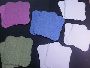 6 x Mix Glitter  & 6 x White Background Frame Square Curve Toppers. Card Making