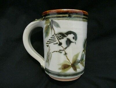 Studio Art Pottery Airbrushed Sparrows & Leaves Mug, Signed