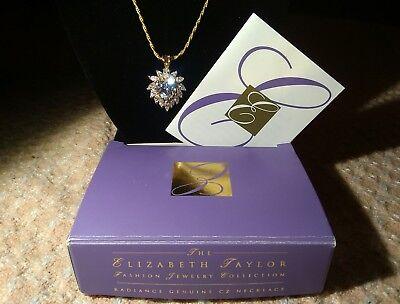 Vintage ELIZABETH TAYLOR Fashion Radiance Genuine CZ Necklace by Avon 1996 NOS