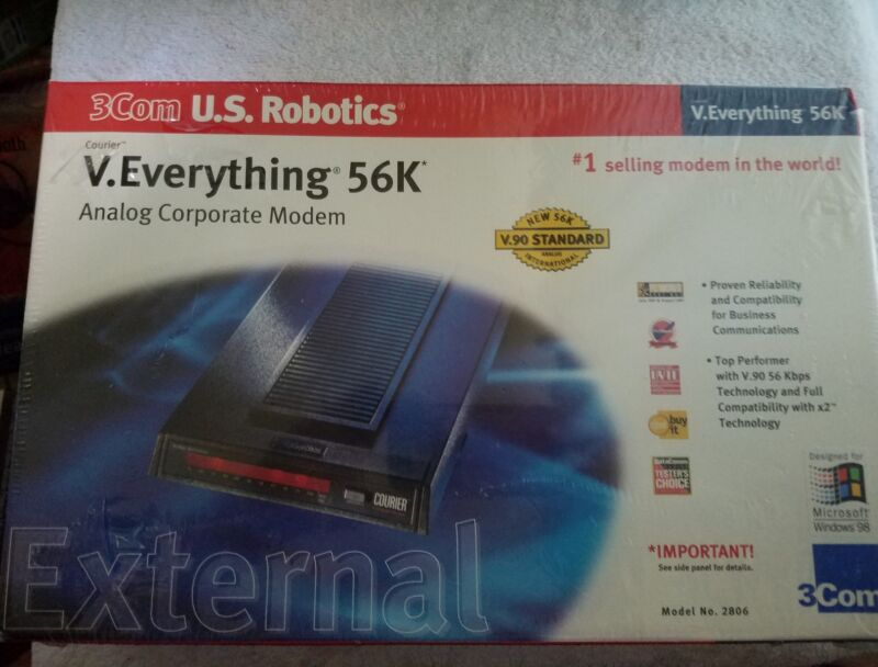 U.S. ROBOTICS V. EVERYTHING 57K ANALOG CORPORATE MODEM EXTERBAL 2806 NEW SEALED