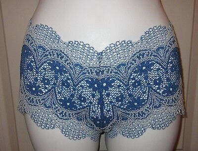 Blue Boys Panty (XS ~ Blue/White VICTORIA'S SECRET Crochet Lace Shortie Boy Short Panty ~ NWT!)