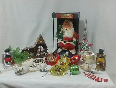 Vintage Christmas Decorations Ornaments Lot of 18 Holiday Retro Santa Birds