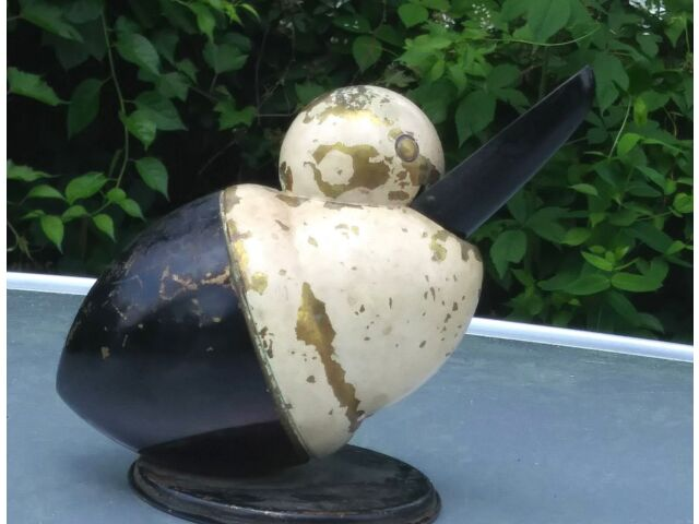 Antique Pelican Ash Receiver Enameled Brass Bird figurine Ashtray by Chase USA