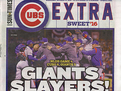 2016 Chicago Sun Times Cubs Beat The Giants 10 12 16 Full Edition Nlcs Baseball