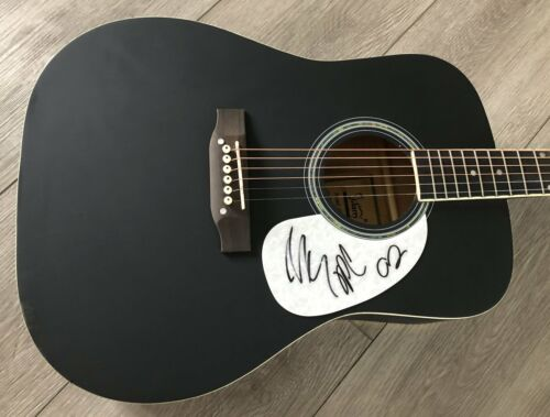 """MIDLAND GROUP SIGNED AUTOGRAPH BLACK 41"""" FULL SIZE ACOUSTIC GUITAR w/EXACT PROOF"""