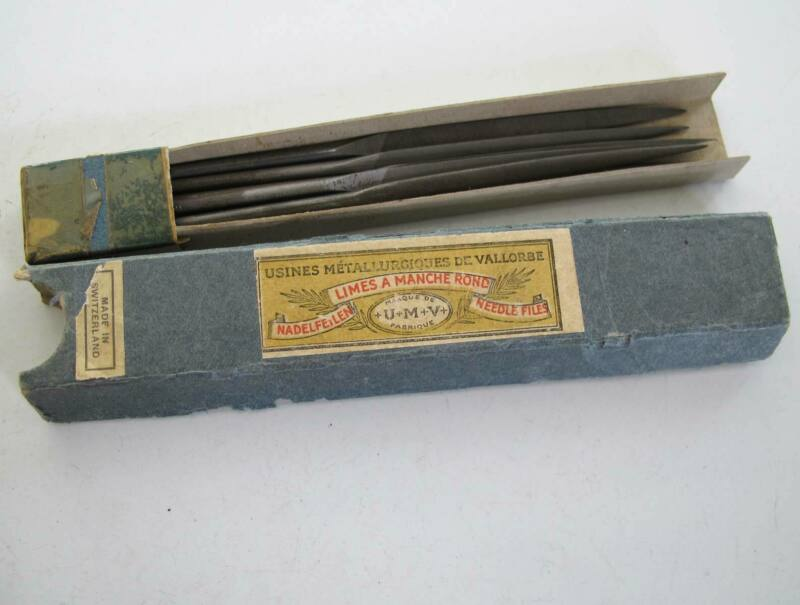 USINES METALLURGIQUES DE VALLORBE - 7 SWISS Round Handle NEEDLE FILES 5 ½ Inch