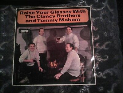 THE CLANCY BROTHERS TOMMY MAKEM RAISE YOUR GLASSES WITH STEREO LP MONO SLEEVE