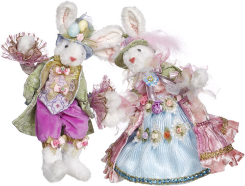 """Mark Roberts Easter Bunny: Mr & Mrs Easter Bunny; Item# 51-05240, 2 Assorted 12"""""""