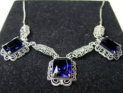 Sim Sapphire Victorian Festoon Sterling Silver Filigree Necklace (Made To Order)