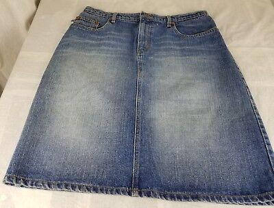 Polo Jeans Company RALPH LAUREN 12 vintage 90s blue knee skirt woman fashion wow