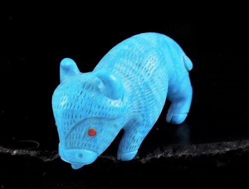 ZMT Small Zuni Buffalo Fetish by Fabian Cheama - Man Made Turquoise