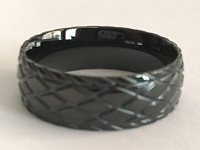 - MENS BLACK IP STAINLESS STEEL TIRE TREAD RING  sizes 9-13