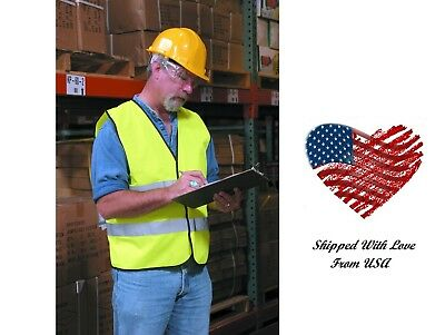 Safety Vest Neon Reflective Traffic Construction Warehouse High Visibility Usa