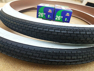 2- 26x2.125 Beach Cruiser Bicycle White Wall Classic Tires & 2-26