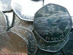 Olympic 50p. London 2012. AQUATICS. Swimming. Swimmer. Fifty pence. Circulated.