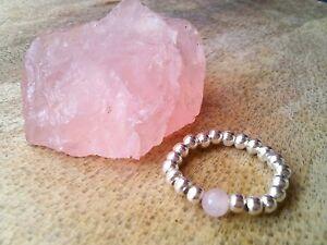 Rose Quartz Silver Ball Beaded Stretch Ring Gemstone, Love