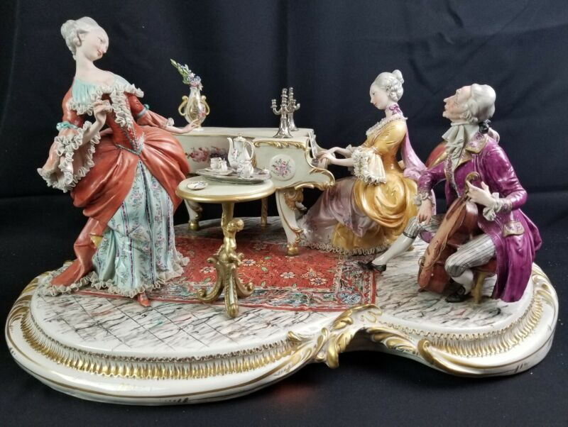 "RARE Capodimonte Dresden Lace Style Figural Porcelain Musician Group 25""x15""x13"""