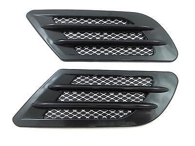 Black Car Bonnet Air Flow Intake Side Fender Vent Moulding Trim Decals Stick On