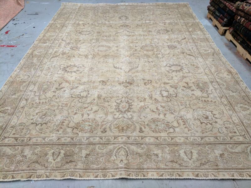 Antique Cr1900-1939s Muted Colors,9x12ft Wool Pile Decorative Oushak Rug