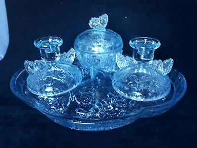 VINTAGE ART DECO STYLE BLUE  GLASS DRESSING TABLE SET 4 PIECE STUNNING