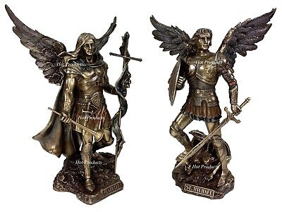 Saint Michael Archangel - PAIR Saint MICHAEL & GABRIEL ARCHANGEL SWORD & SHIELD DEMON Statue Bronze Finish