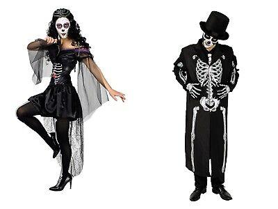 Skelett Mann, Skelett Frau Dia de los Muertos Damen o. Herren Kostüm Halloween ()