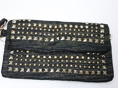 Bebe bag wristlet purse handbag pocketbook clutch Linen Stud  193995