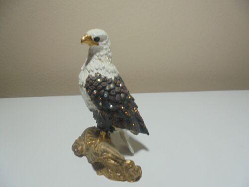 "DZ Bald Eagle Bird Trinket Box Enamel & Rhinestone 4.5"" Tall Patriotic USA"