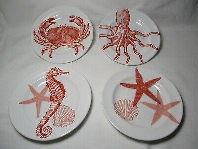 222 Fifth Coastal Life CORAL Dessert Bread Plates Nautical Ocean Set of 4 6.5