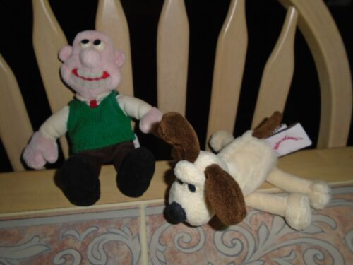Vintage 1989 Gund Wallace & Gromit Beanbag Plush Set of 2 Aardman Animations