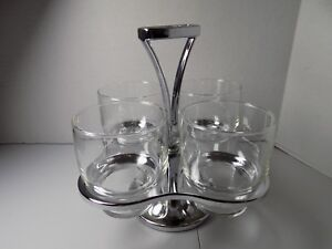 Chrome Server with Set of 4 On the Rocks Glasses, Mid-century?, Excellent Condit