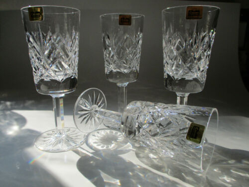 Cavan Irish Crystal 4 Heavy Stemware Wine/Liquor Glass- Etched Mark/Label-UNUSED