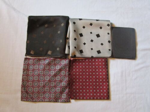Vintage Lot Of 5 Small Geometric Print Pocket Squares Gray Black Red