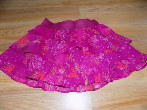 Size XS 4-5 Gap Kids Magenta Pink Tiered Ruffle Floral Short Mini Skirt EUC