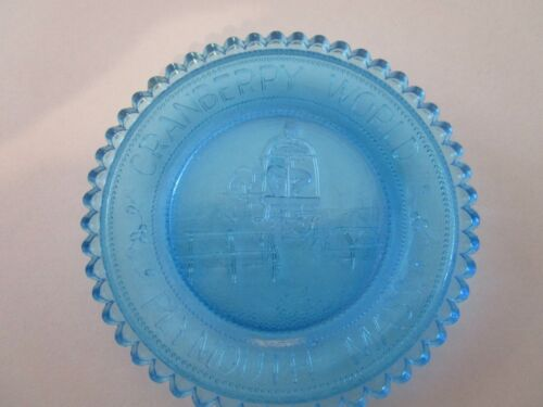 Vtg Pairpoint Glass Blue Cup Plate Cranberry World Ocean Spray 50th Plymouth MA