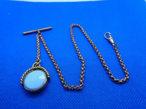 ANTIQUE VICTORIAN ROLLED GOLD ALBERTINA  WATCH CHAIN + AGATE SWIVEL FOB